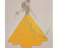 Art Deco Erté Print, Dress Design Vintage Art Original Print. Beautiful Eye Catching Book Page Vintage Art Print,Erté Art Book Print,