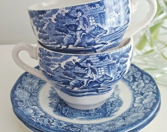 Liberty Blue Vintage China Teacup and Saucer - Blue and White Porcelain - Vintage China with Floral Rim