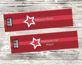 American Girl Water Bottle Label Printable Digital