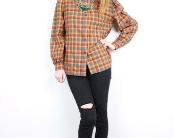 French Vintage 1980s WOOL blouse / Checkered Buttonned shirt fall winter tones rust mustard yellow burgundy checks / Made in France Size M L
