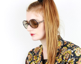 French vintage 1960s Mod sunglasses Tortoise shell womens brown lenses oversized eyewear for ladies from France