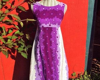 Vintage 60's Floral High Waist Maxi Dress