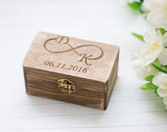 Rustic Wedding Ring Box Personalized Wooden Box Wedding Ring Bearer Box Burlap Box Infinity Ring Holder Decoration