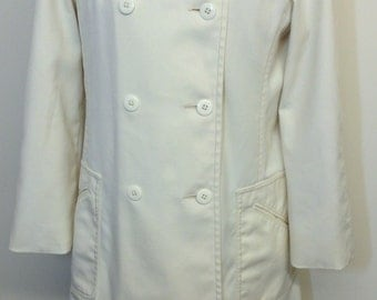 Vintage London Fog Maincoats Ladies Rain Jacket, Trench Coat, Ivory, size 10 Reg