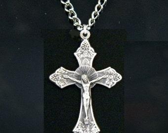 Crucifix Cross Necklace, Cross Necklace, Jesus Cross Pendant, Crucifix Necklace, Religeous Necklace