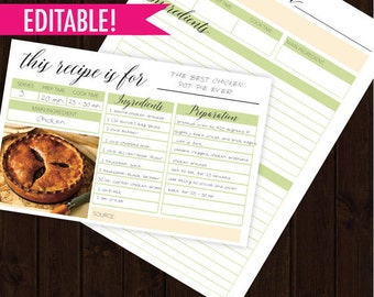 Recipe Card Printable,Recipe Card Template, Printable recipe cards , Instant download,