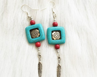 Earrings - Red & Turquoise color - Native Feather Charm - Rotating Square Stone and metal beads - Southwest, Native American