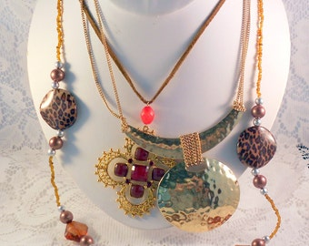 Boho Necklaces Lot of 3 to Wear, Gift, Resell, Repurpose, Restash, Upcycle