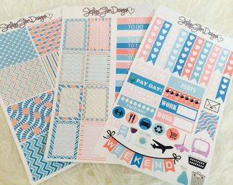 Turquoise Coral Summer Weekly Sticker Kit   Erin Condren & Plum Paper Planner