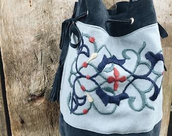 Leather Suede Bag, Wool Handbag, Leather Purse, Bucket Bag, Hand Embroidery, Embroidered Bag, Blue Bag, Navy Bag, Nyboer's, great gift