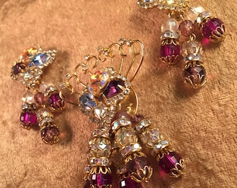 SUPERB Hobé Demi of Lavender, Blue & Aurora Borealis Teardrop Rhinestones (Dangle Earrings and Brooch Pin) Amazing Colors and Style! 906
