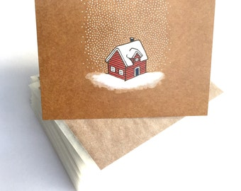 20 x Little red house christmas card