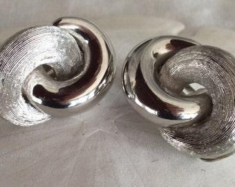 Silver Toned Christian Dior Clip Earrings - 1970's era