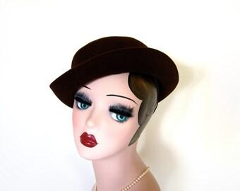 Vintage Womens Brown Derby Hat/Riding Hat ~ Dobbs Circa 1950's