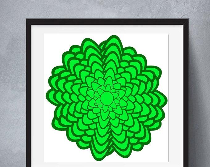 Coloring Mandala Art, Mandala Adult, Mandalas Page Coloring, Mandala Poster, Mandala Print, Green Mandala Poster, Mandala Printable