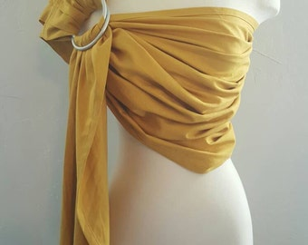 Ring Sling Gold Yellow Minimalist Wrap Carrier Baby Wearing Baby Carrier Baby Shower Gift