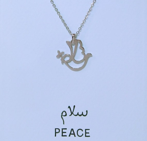 PEACE pendant in Arabic letter rhodium plated brass by ...