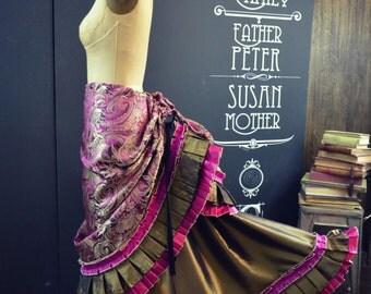 Gorgeous Victorian Steampunk Fuchsia Brocade Bustle Skirt