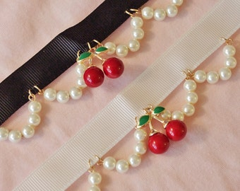 Lolita pearl enamel cherry choker necklace kawaii harajuku cute girl cosplay jewelry accessories
