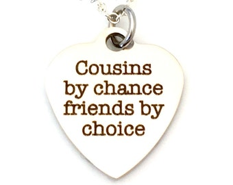 Cousins Necklace, Cousins Jewelry Charm Best Friend Gift for Cousin Gifts,  Long Distance Cousin Gift, Niece Gift Sterling Silver Long Short