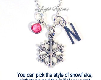 Snowflake Necklace, Snow Flake Jewelry, Skier Necklace, Silver Winter Charm Pendant Gift for Bridal Party Wedding initial birthstone custom