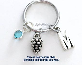Pine Cone KeyChain Nature Keyring Nut Tree Key chain Pinecone Jewelry charm Custom Initial Birthstone birthday present Christmas Gift 13