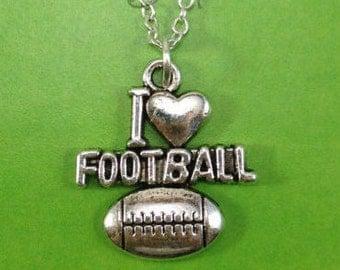 I love Football Necklace, Football Player Jewelry, I love football Charm, Gift for Football Mom, Football Gift, Little boys man men male 117
