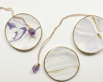 Gold Dipped Amethyst Necklace + Marbled Jewelry Dish