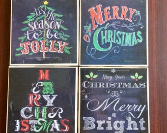 Chalkboard Christmas Coasters with Color- Set of 4