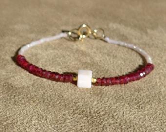 LAST ONE: Garnet Bracelet, Ruby Bracelet, Red Bracelet, Gemstone Bracelet, Pink Bracelet, Dainty Bracelet, Peru Opal Bracelet
