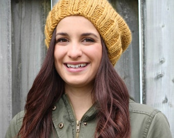 knit, chunky beanie, slouch hat, hand knit, cozy