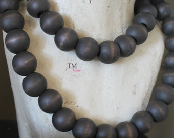 Espresso Wooden Home Decor Beads With Organza Ribbon