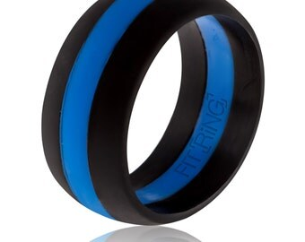 Fit Ring ™ Men's Silicone Wedding Ring Thin Blue Line - Powered by Arthletic™  - Law Enforcement Silicone Wedding Band - Police Safe Rings