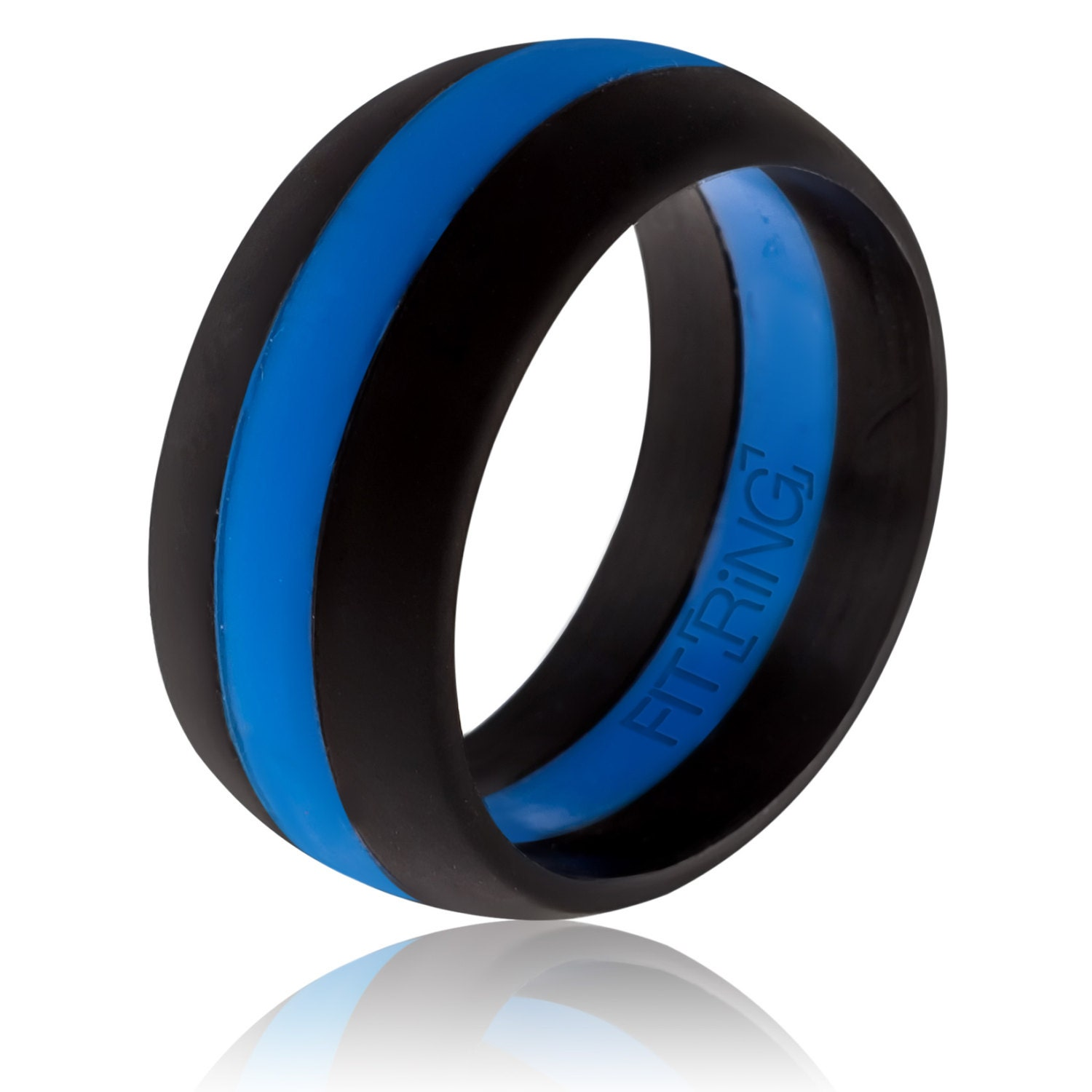 Fit Ring Mens Silicone Wedding Ring Thin Blue Line