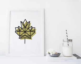 Printable Art, Fall Leaves Decor, Apartment Decor, Canada Art, Geometric Print, Printable Downloads, 8x10 Print