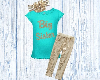 Big Sister Shirt - Mint and Gold Big Sister Shirt - Little Sister Shirt Mint and Gold Sister Outfit