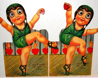 1920's Retro Valentines Day Card GOOGLE EYED FLAPPER Dancer Stand-up New in Package B. Shackman We Ship Worldwide!