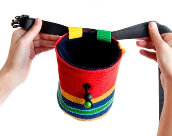 Climbing Gear Chalk Bag. Climbing Chalk Bag for Rock Climbing. Colorful Crochet Chalkbag. M Size
