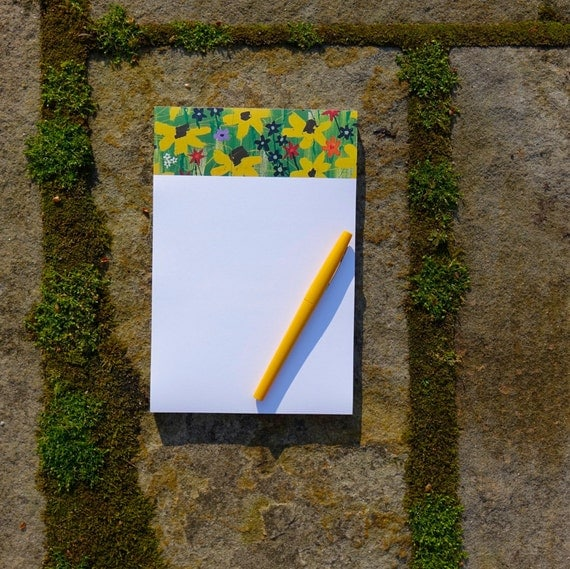Mavec Collections Single 9x6 Yellow Floral Notepad