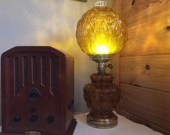 Amber Lantern, Amber Lamp, Lighting, Vintage Lamp, Farmhouse Decor, Table Lamp, Shabby Chic Lamp