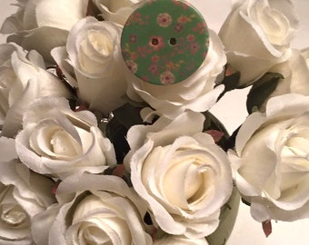 Flowery Wooden Button Ring