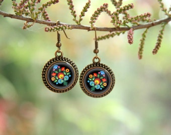 Folk Earrings, Polish cutout earrings, Black earrings, Antique Brass Earrings, Flower earrings, polish earrings, polish folk