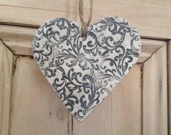 Beautiful Charcoal Grey French Filigree Hanging Heart