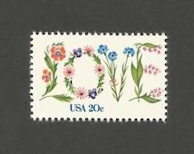 10 LOVE Flower Vintage Postage Stamps, 20 Cents, Unused # 1951