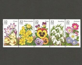 5 Garden Flowers 32 Cent Vintage Postage Stamps, Unused # 3025-3029