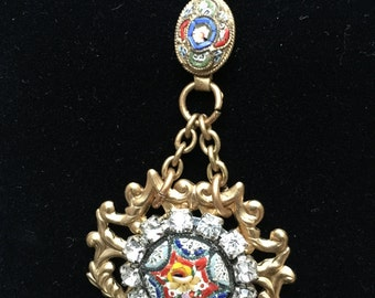 Vintage Baroque-style micro mosaic necklace with filigree rhinestone centrepiece