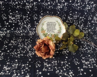 Truly Grand~Grandmother~Decorative Gift Plate~Vintage~Gilded~Yellow and White Roses