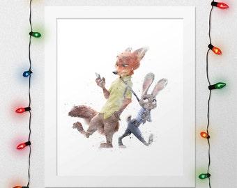 ZOOTOPIA PRINT, Nick Judy, Nick Wilde, Judy Hopps, Disney, Pixar, Disney poster, Watercolor, Nursery, Movie Poster, Print, Digital Print