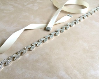 Rhinestone Bridal Sash | Rhinestone Sash Belt | Crystal Wedding Sash Belt