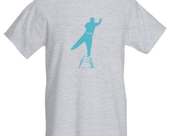 Graffiti Artist Mens T-Shirt. Grey/Turquoise. All sizes.